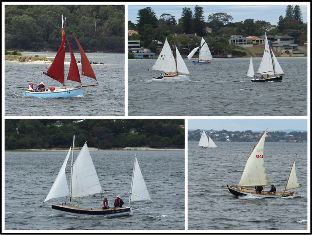 Clockwise from top left: Arriette (G3); Vagabond (C1), Bicton Belle (EF3) and Gryphon (R183); Wee Birlinn (R141) and Araluen. (Photos Brian Cain)