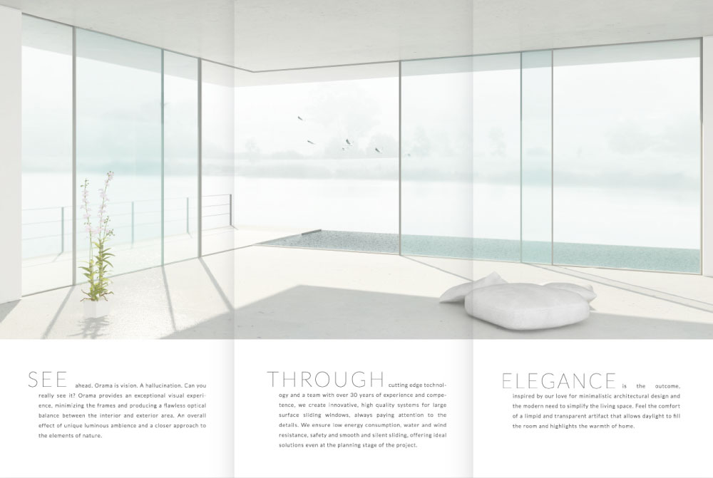 Brochure Instead of using installation photography we opted for a more idealistic visualisation that would capture Orama's mission. Thus we designed and rendered a conceptual living room that has become iconic for the company's identity.