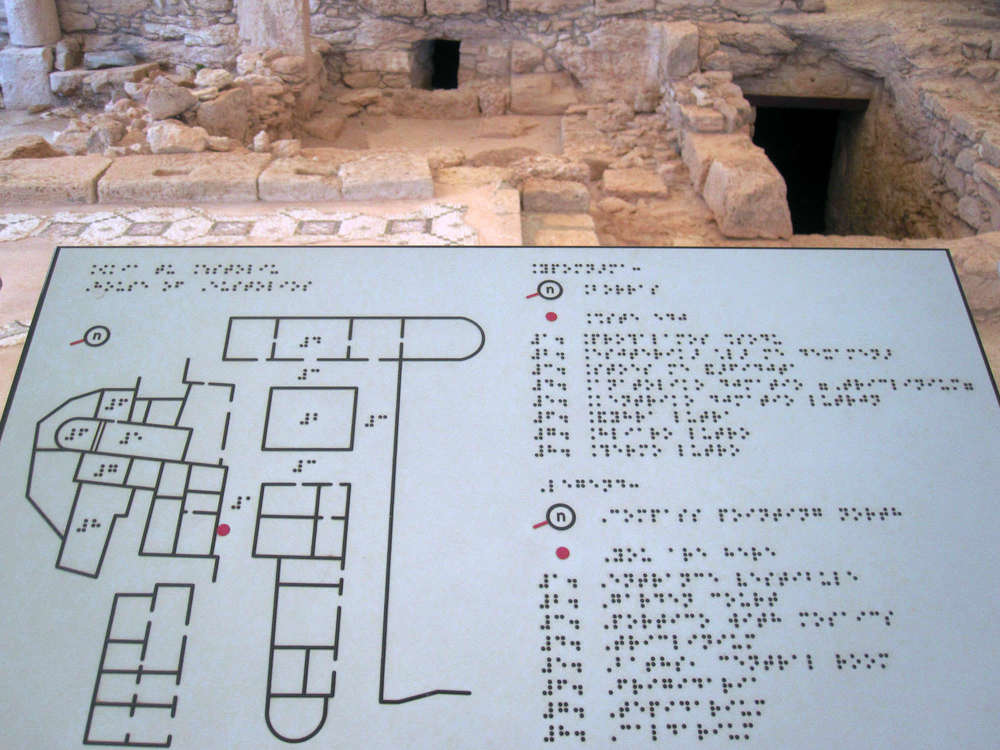 Kourion ancient site features signage for the blind