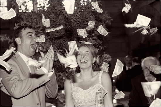"""Money, gloooooorious money!"" (Tone it down, dudes. That guy behind you isn't the least bit amused.)"