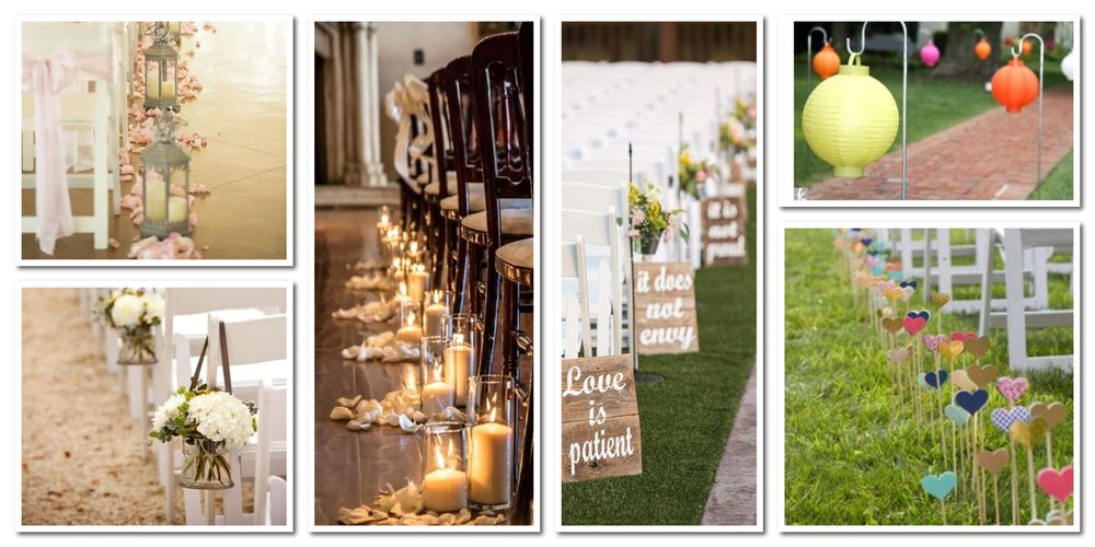 So many decor ideas! The images on the left (the small lanterns and hanging floral arrangements) are easily repurposed as reception decor.