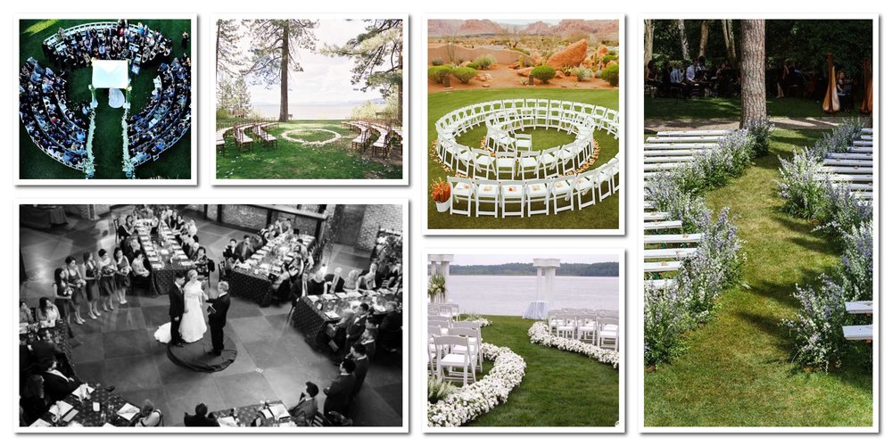 You can set up your ceremony in so many cool ways! Wave, spirals, circles, etc. Don't fee like you have to be boxed in!