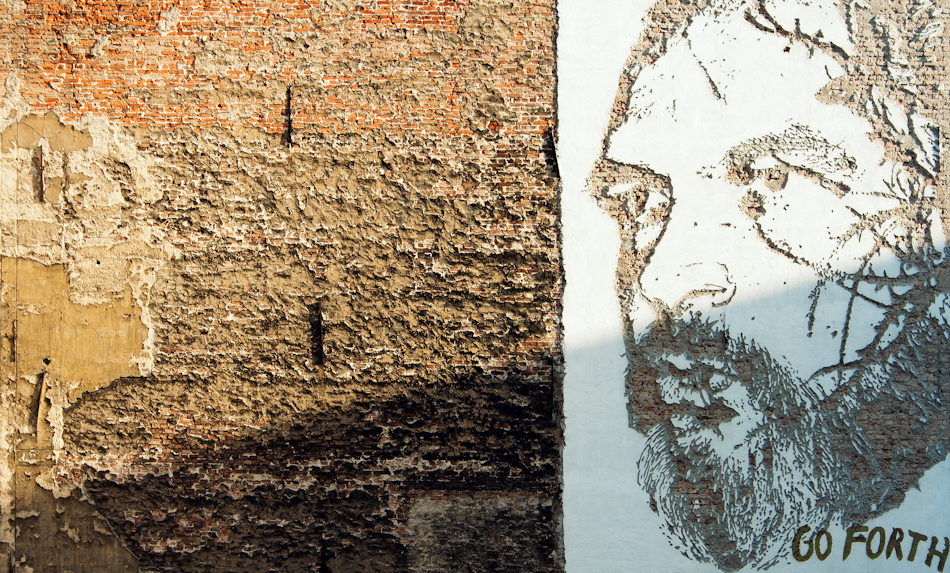 a wall mural by the artist VHILS, at Alvenslebenstraße and Potsdamer Strasse