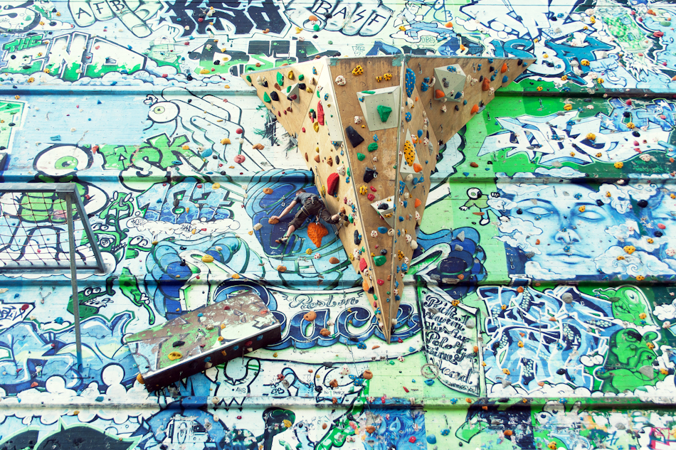 An outdoor climbing wall behind the Rote Flora in Hamburg's Schanzenviertel neigbourhood.