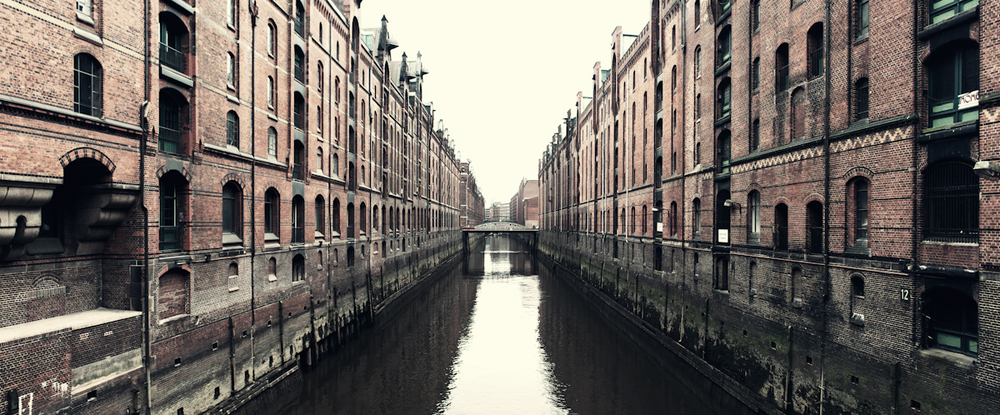 One of the canals in The  Speicherstadt  or Warehouse District in Hamburg.