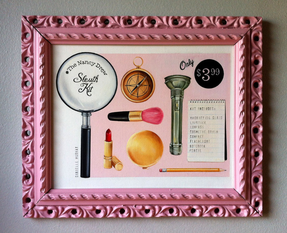 Now You Can Solve Crimes Too! Nancy Drew Sleuth Kit, Faux Advertisement 8 x 10 in. oil on board