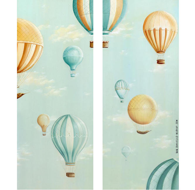 "Danielle Murray ""Up Up"" 8 x 20 in. each, oil on board"