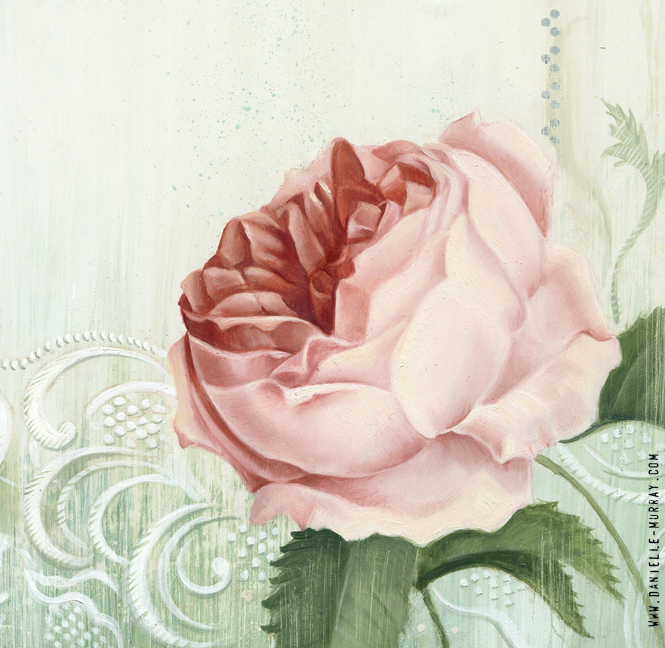 "Danielle Murray ""Vintage Roses"" 11 x 11 in. oil on board *detail"