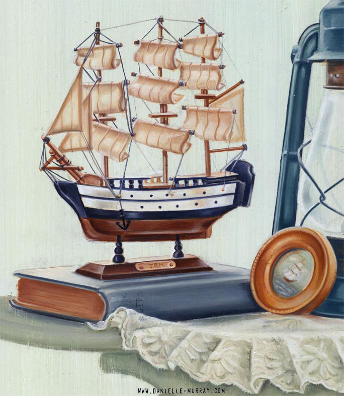 "Danielle Murray ""At Sea, Still"" 16 x 16 in. oil on board *detail"