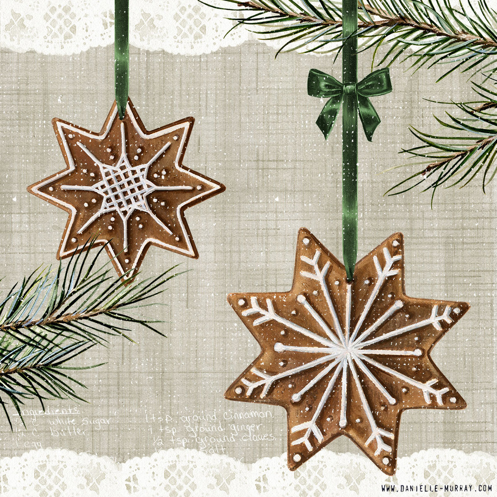 Danielle Murray, Gingerbread Ornament Collection, Snowflakes