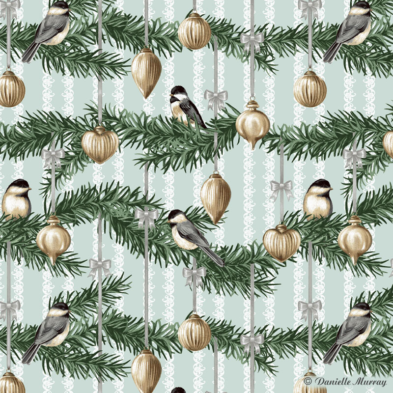 Birds with Ornaments Repeat