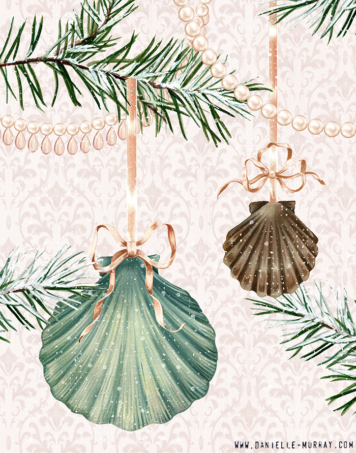 Danielle Murray, Shell Seeker Holiday Ornaments 1