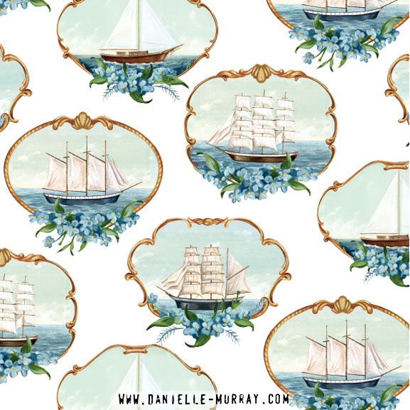Forget Me Not Ships Pattern