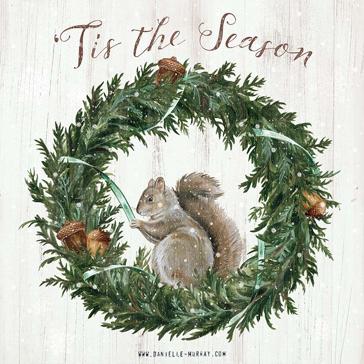 Danielle Murray, Winter Squirrel and Wreath