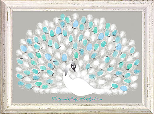 Peacock wedding guestbook charming ink i do it yourself love this fingerprint peacock guestbook solutioingenieria Choice Image