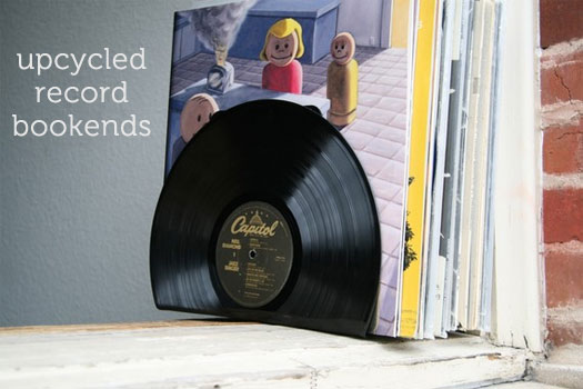 Upcycled Vinyl Records Into Bookends Charming Ink