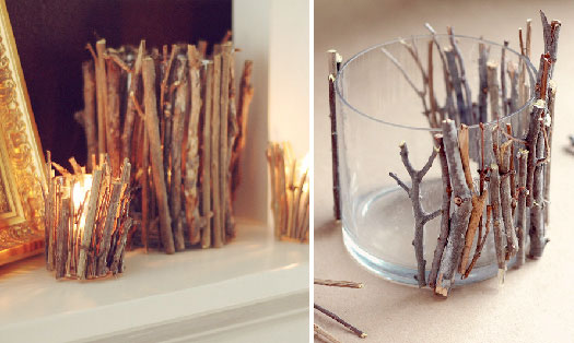 Check out these easy yet elegant DIY twig candle holders by Christina.  She's a belt designer for Fossil.