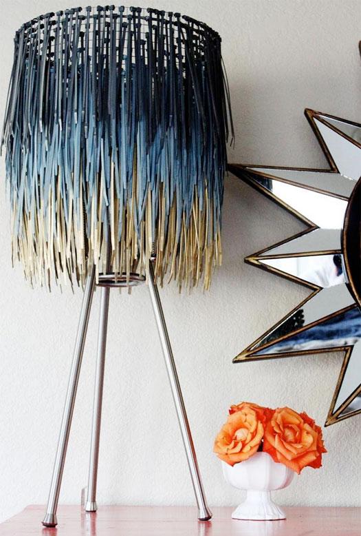 Upcycled DIY Project Zip Tie Lamp Shade Blue Ombre Orange Flowers Sunburst  Mirror