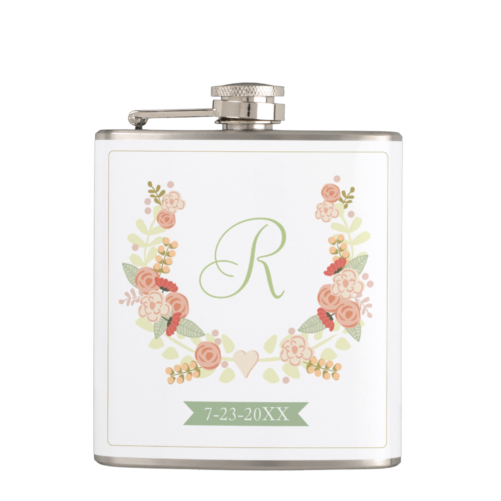 Monogram floral flask  with customizable monogram and date. Perfect for bridesmaids to commemorate your wedding date or bachelorette party.