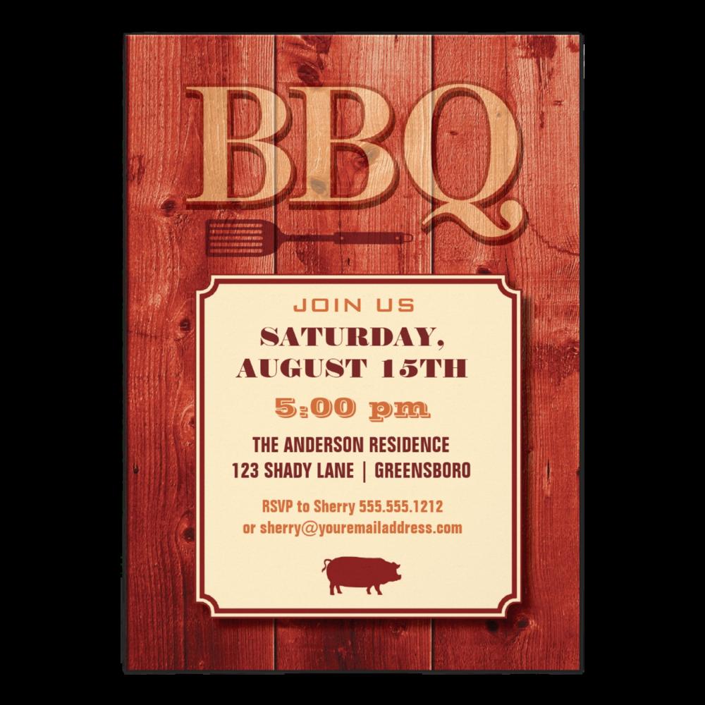 Rustic Barn BBQ   5 x 7 invitation