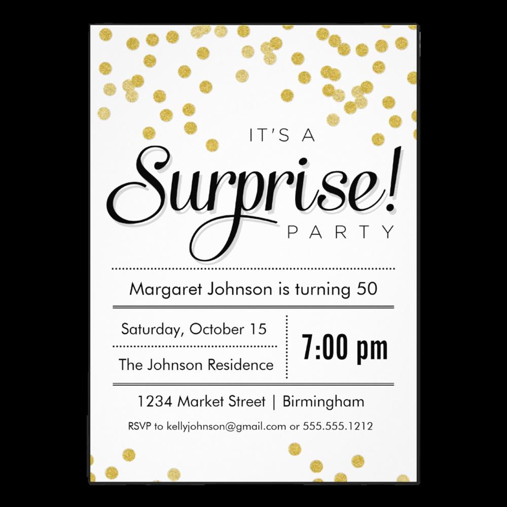 Confetti Surprise Party 5 x 7 Invitation
