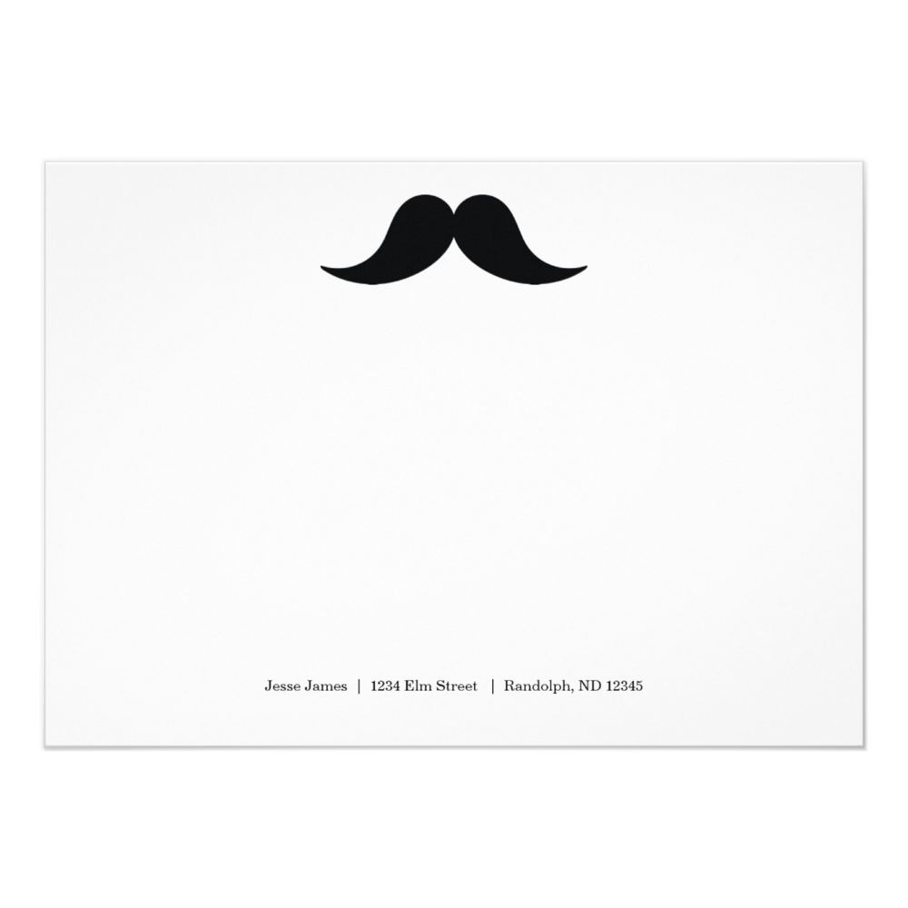 Mustache Note Cards  5 x 7