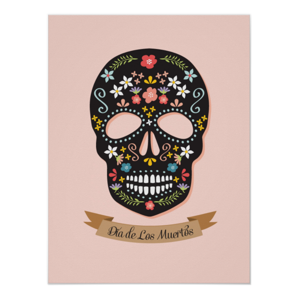 Sugar Skull Poster Also in Gray, Yellow