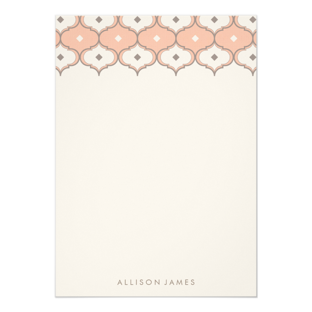 Moroccan Pattern Note  Cards choose from 9 paper stocks