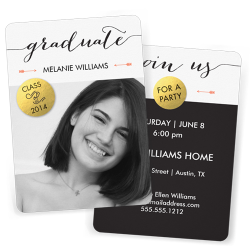 Faux Foil Graduation Party Invite