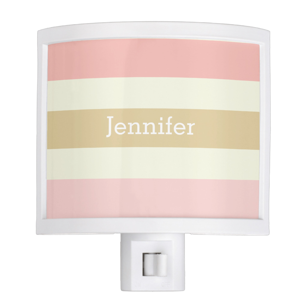 personalized pink stripes nite light