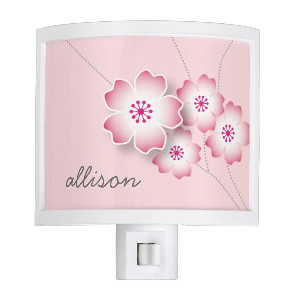 personalized cherry blossom nite light