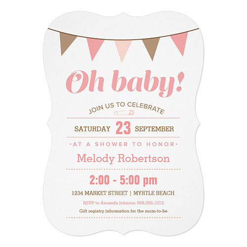 Pink Bunting Baby Shower   Choose shape style