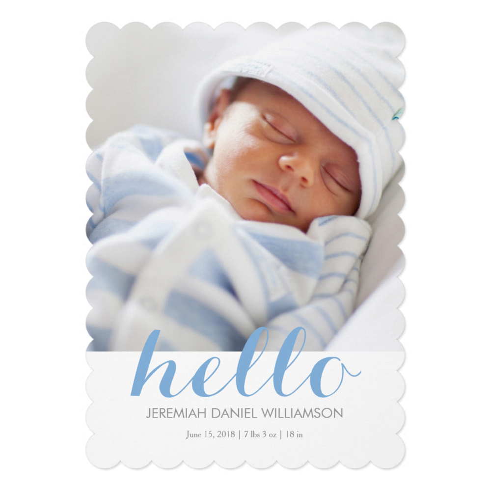 Birth Announcement Blue  Choose shape style