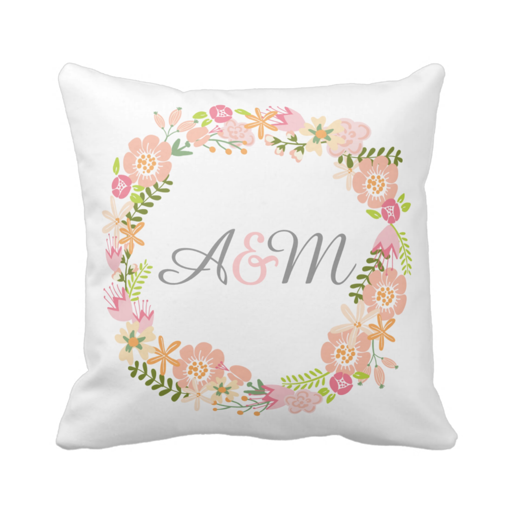 Botanical monogram pillow different fabrics available