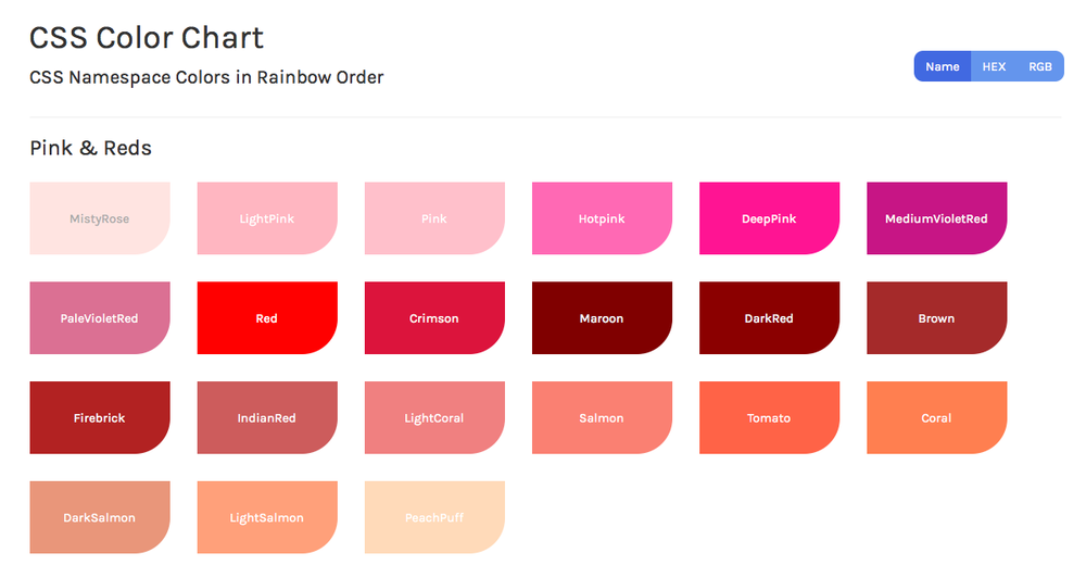 Css Color Chart Charming Ink