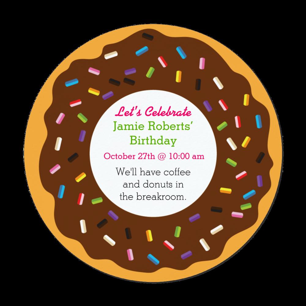 Donut with Sprinkles Invitation   Round Die-Cut