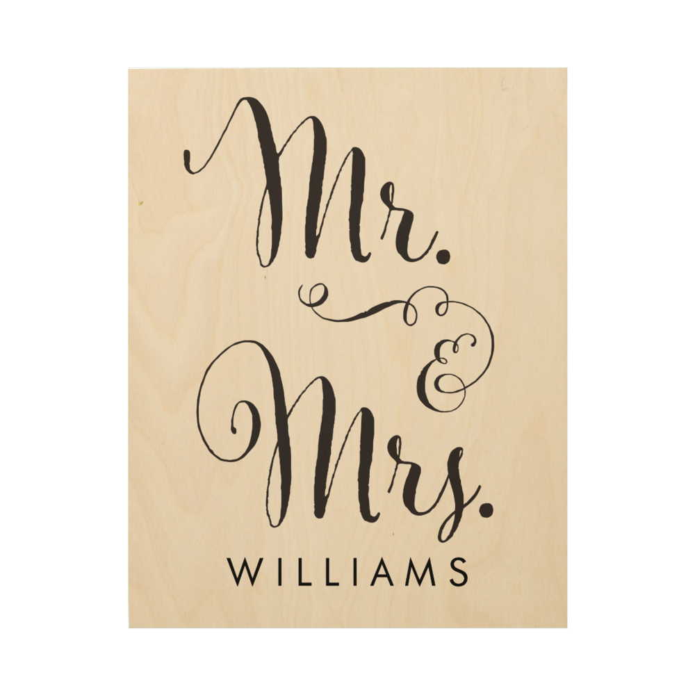 Mr. & Mrs. Personalized Wood Canvas