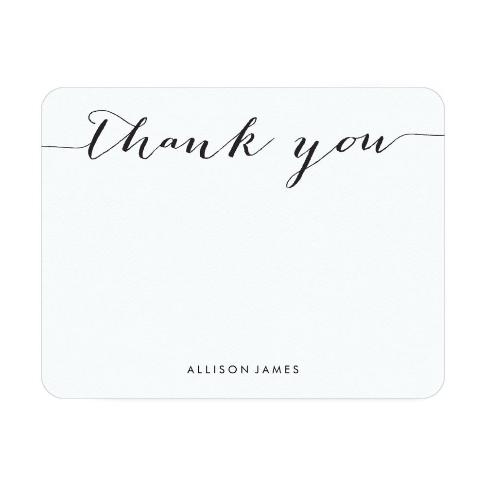 Black & White Script Thank You Note Cards