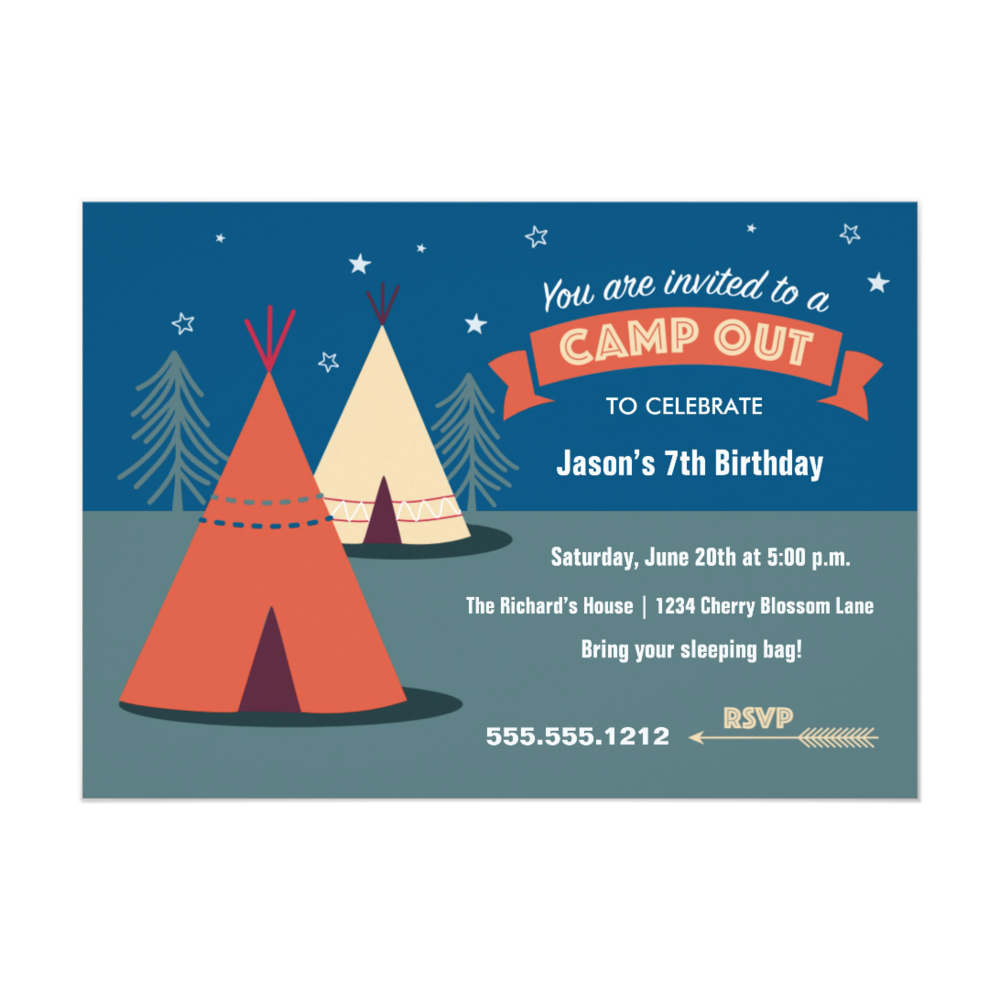 Camp Out Party 5 x 7