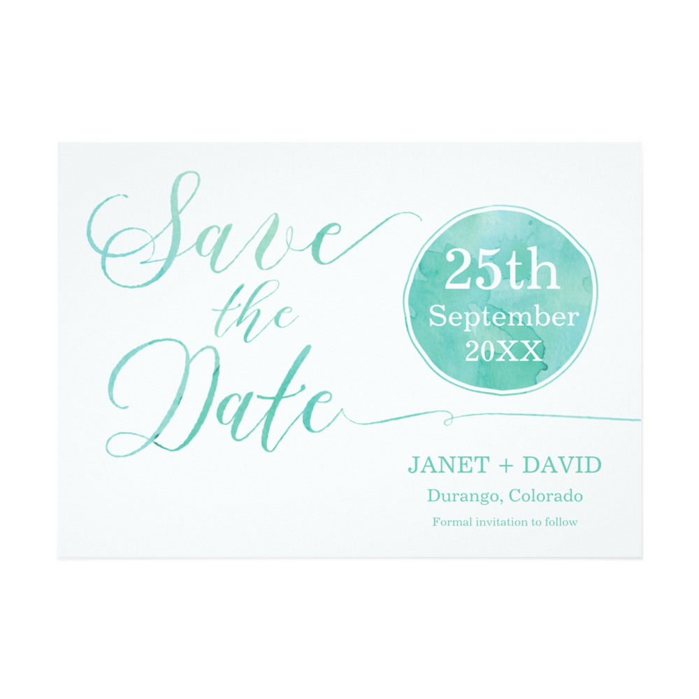 Aqua Watercolor Invitations