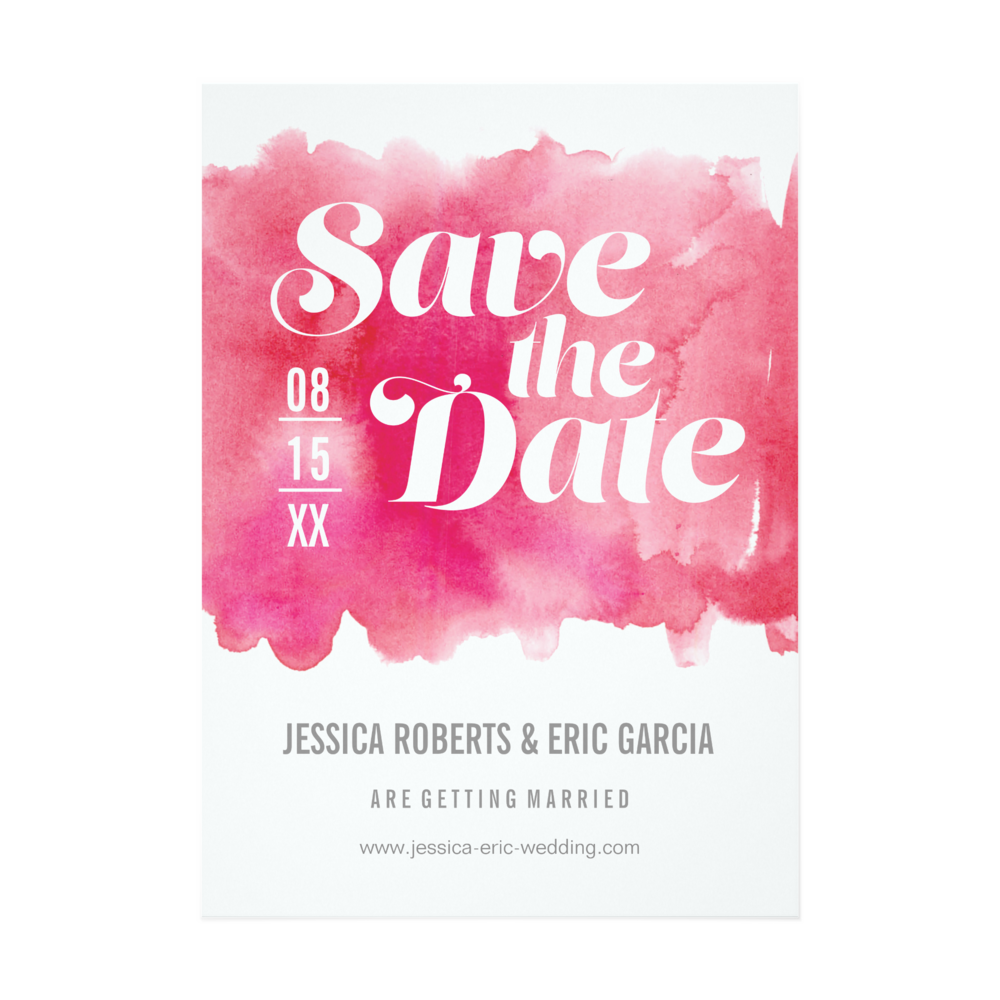 Hot Pink Watercolor Invitation
