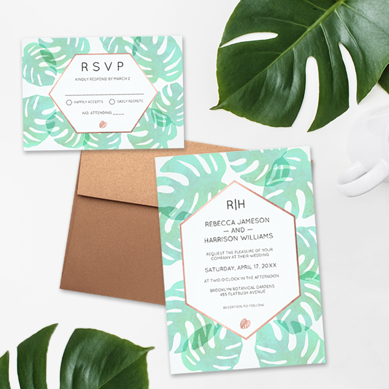 Monstera Leaf & Rose Gold