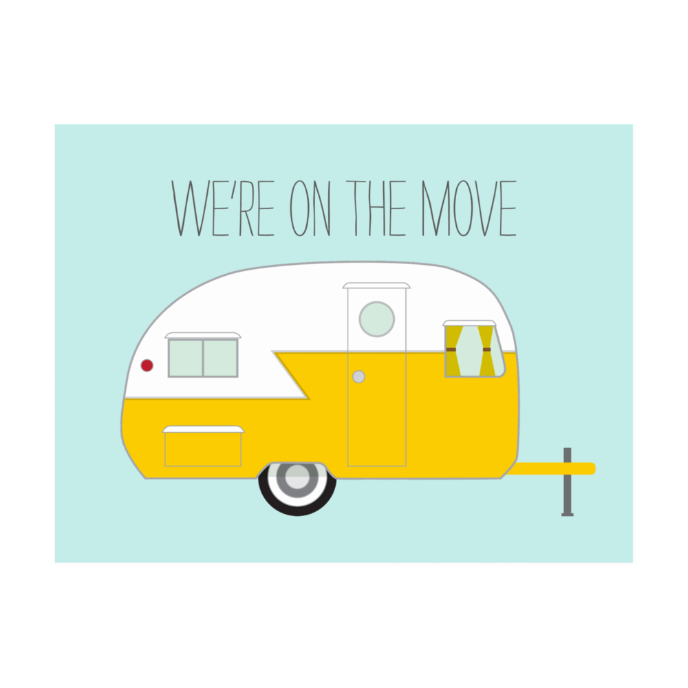 Vintage Camper Moving Postcard