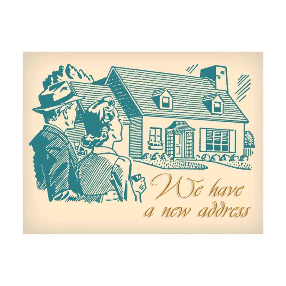 Retro House Change of Address Postcard