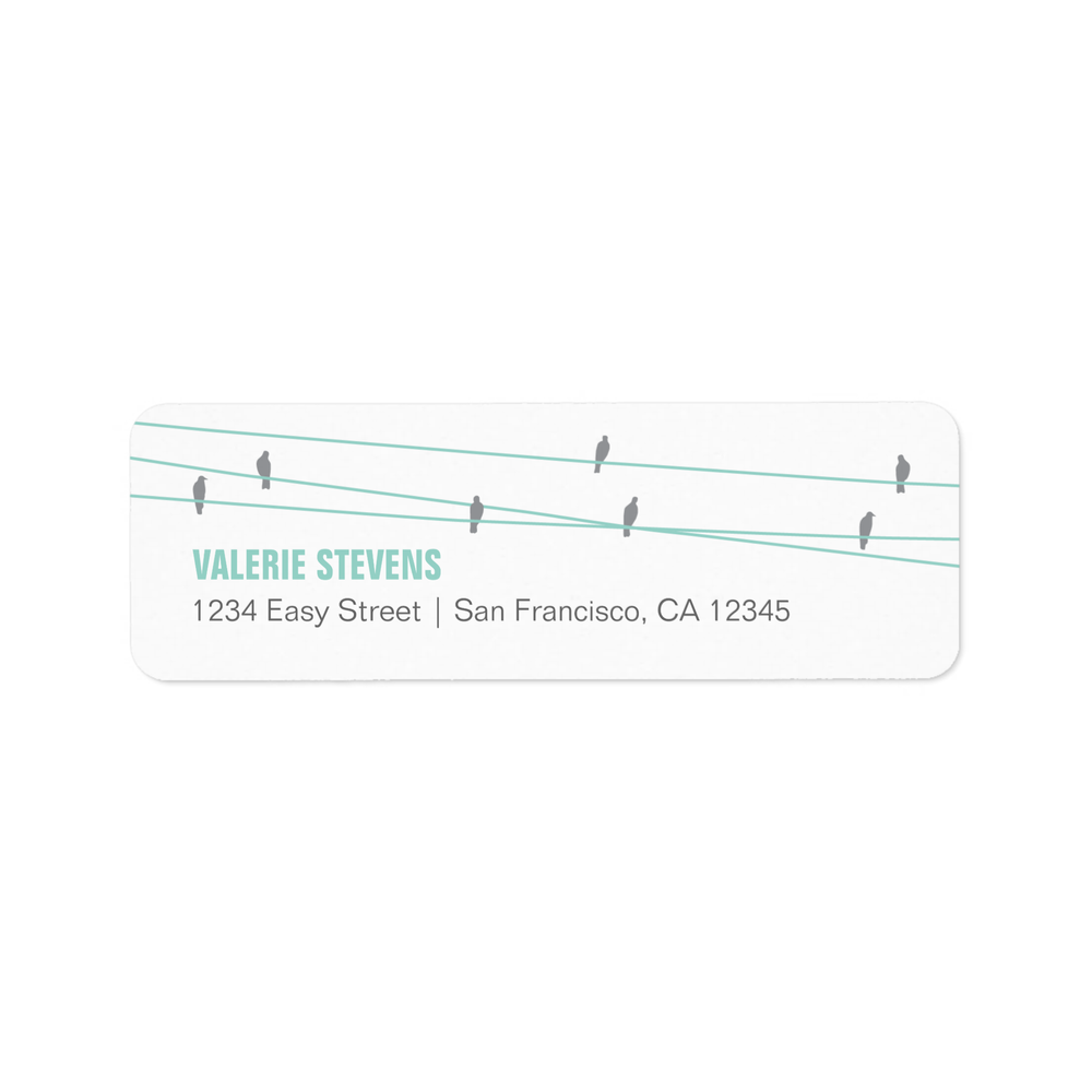 Birds on a Wire Address Labels Blue
