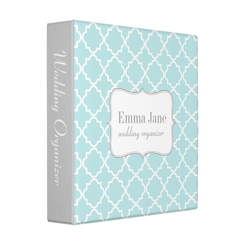 Quatrefoil Pattern Blue Binder
