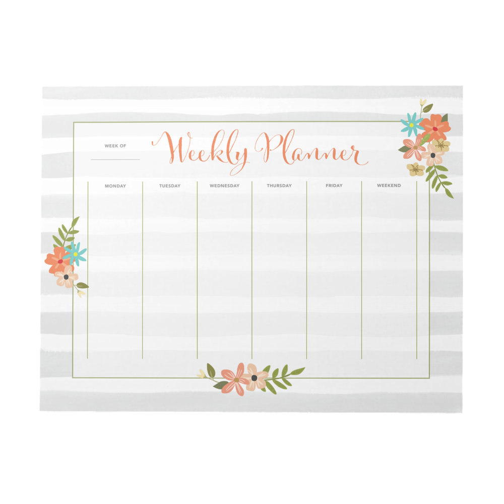 Grey Stripes Weekly Planner | 40 Pages