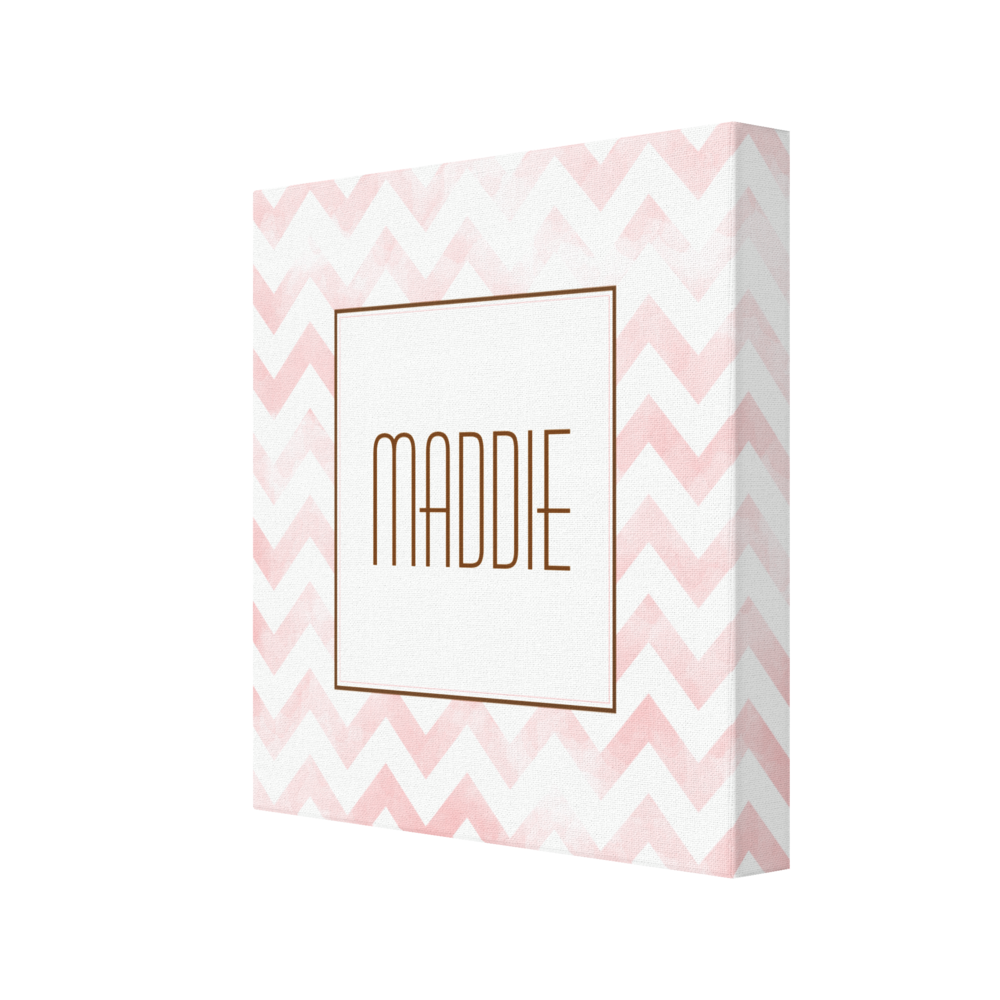 Pink Chevron Personalized Canvas