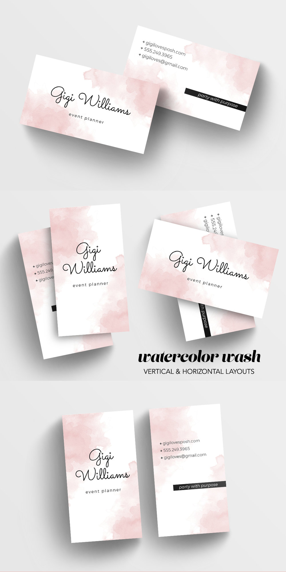 watercolor wash business card template — charming ink