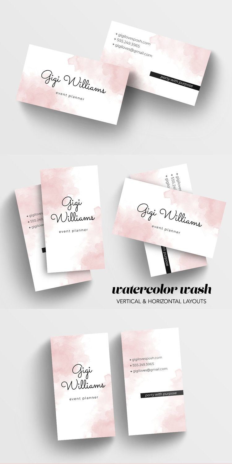 Watercolor wash business card template charming ink youll receive file formats for adobe photoshop illustrator and indesign horizontal and vertical layouts are included purchase here at charming ink or alramifo Gallery